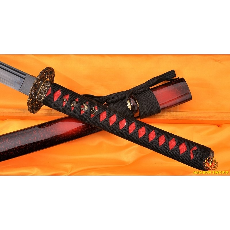 BLACK FULL TANG BLADE DRAGON KOSHIRAE HAND MADE Oil Quenched JAPANESE SAMURAI SWORD for sale