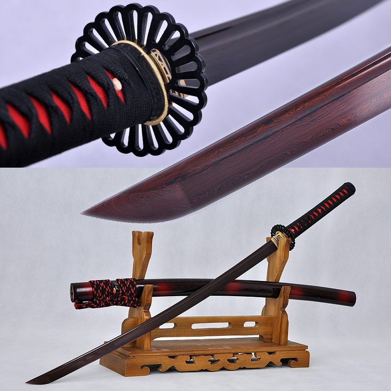 Japanese Sword KATANA Black&Red Damascus Oil Quenched Full Tang Blade Iron Koshirae