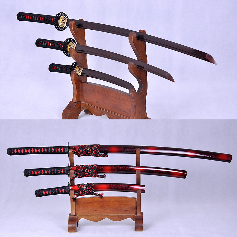 High Quality Japanese Sword Set (KATANA+WAKIZASHI+TANTO) Black&Red Damascus Full Tang Blade