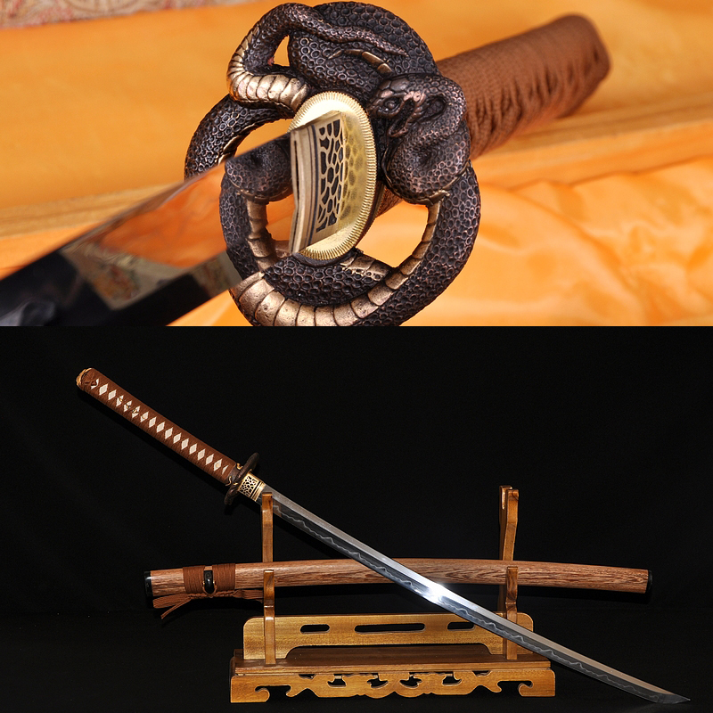 HIGH QUALITY JAPANESE SAMURAI SWORD KATANA SNAKE KOSHIRAE CLAY TEMPERED FULL TANG BLADE