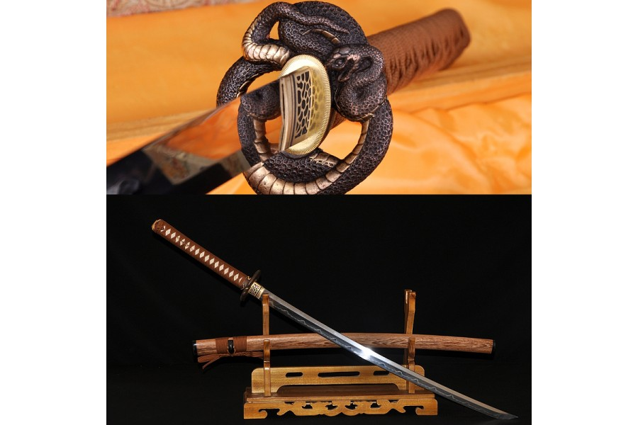 Coffee Synthetic Silk Ito White Rayskin TSUKA HANDLE for Samurai Katana Sword