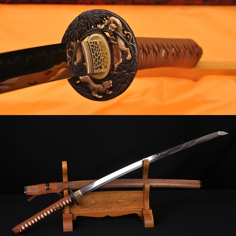 Tiger&Lion Koshirae Hualee SAYA HAND FORGED JAPANESE SAMURAI SWORD KATANA VERY SHARP
