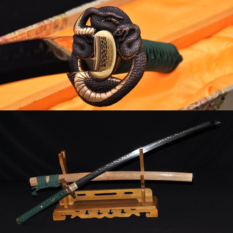 BRASS SNAKE KOSHIRAE HUALEE SAYA CLAY TEMPERED FULL TANG BLADE JAPANESE SAMURAI SWORD KATANA