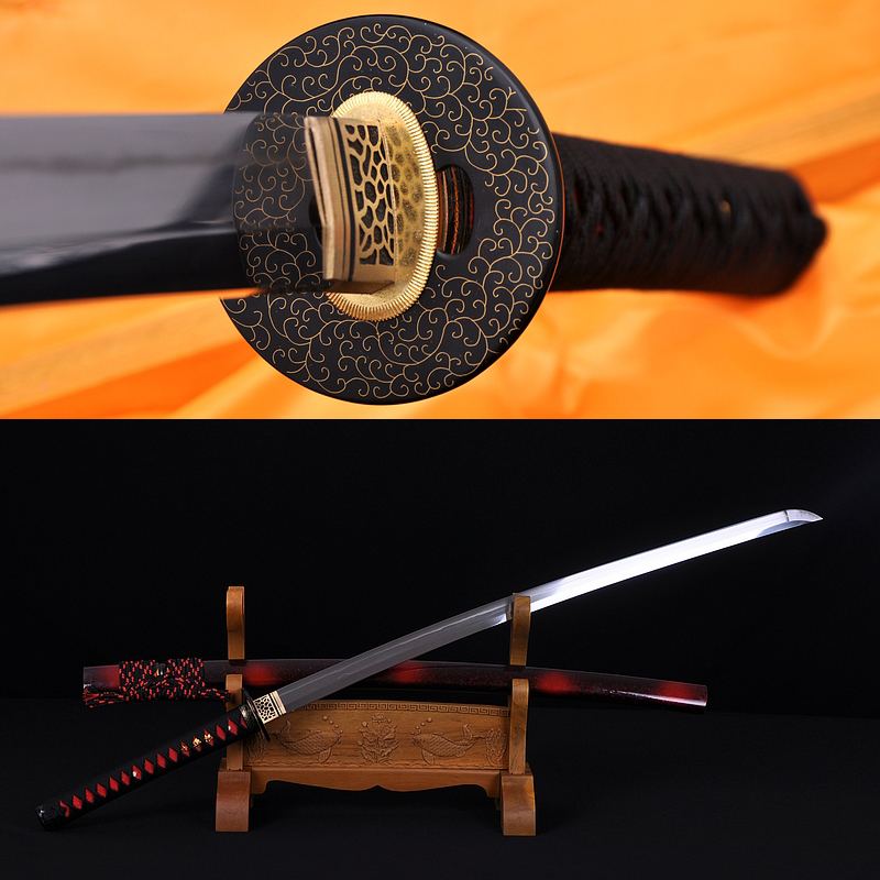 Fully Hand Forged Damascus Steel Clay Tempered Blade Straight HAMON Japanese Samurai Sword Katana