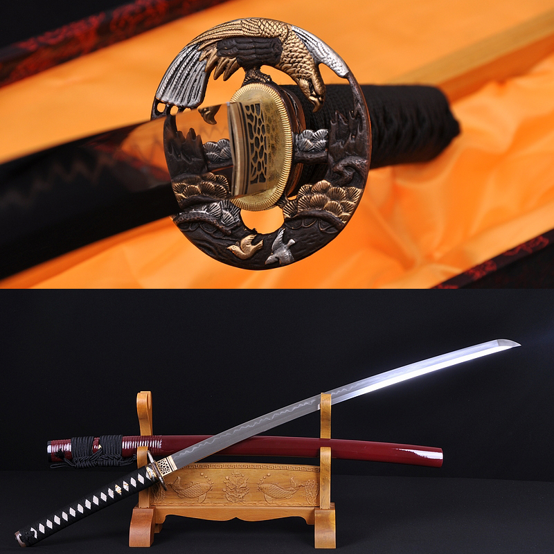 Fully Hand Forged Damascus Steel Clay Tempered Blade Hawk Koshirae Japanese Samurai Sword Katana