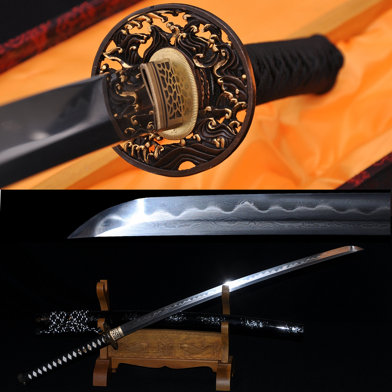 Hand Forged Damascus Steel Clay Tempered Blade Wave Koshirae Japanese Samurai Sword Katana