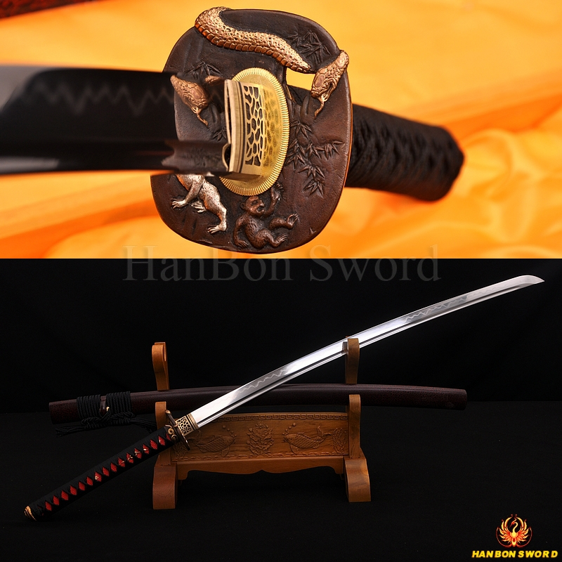 Fully Hand Forged Damascus Steel Clay Tempered Blade Snake&Monkey Koshirae Japanese Samurai Sword Katana