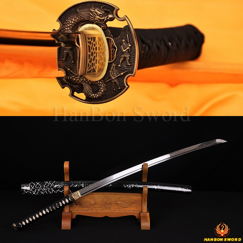 DRAGON KOSHIRAE CLAY TEMPERED FULL TANG BLADE HAND MADE JAPANESE SAMURAI SWORD KATANA