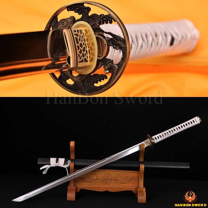 HAND MADE JAPANESE SAMURAI NINJA SWORD FISH KOSHIRAE CLAY TEMPERED FULL TANG BLADE VERY SHARP
