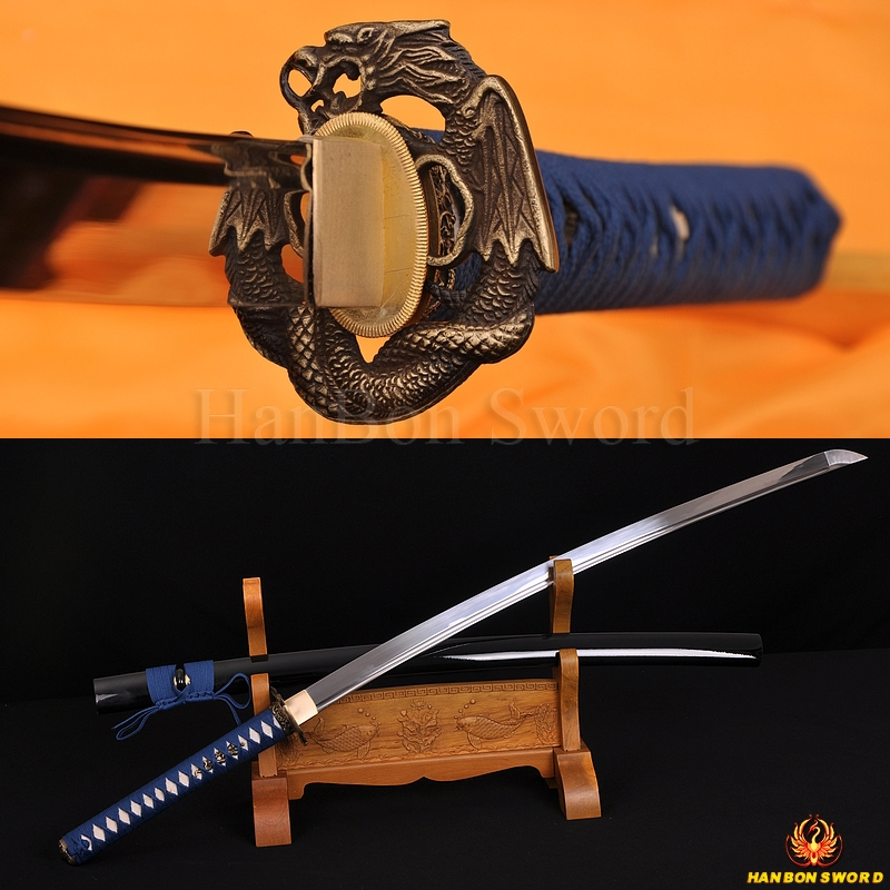 Japanese Dragon V Snake KATANA Sword 1060 high carbon steel full tang blade sharp