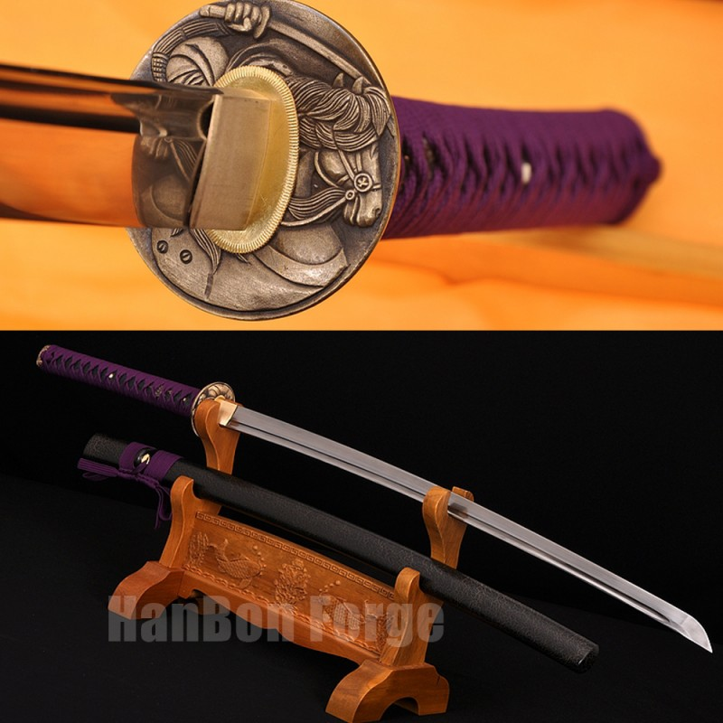Japanese Katana Sword Handmade Pattern Steel Full Tang Blade With High Quality Alloy Tsuba
