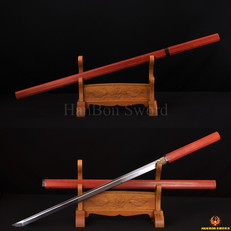HIGH QUALITY HANDMADE ZATOICHI JAPANESE NINJA SWORD CLAY TEMPER BLADE Can Cut Tree