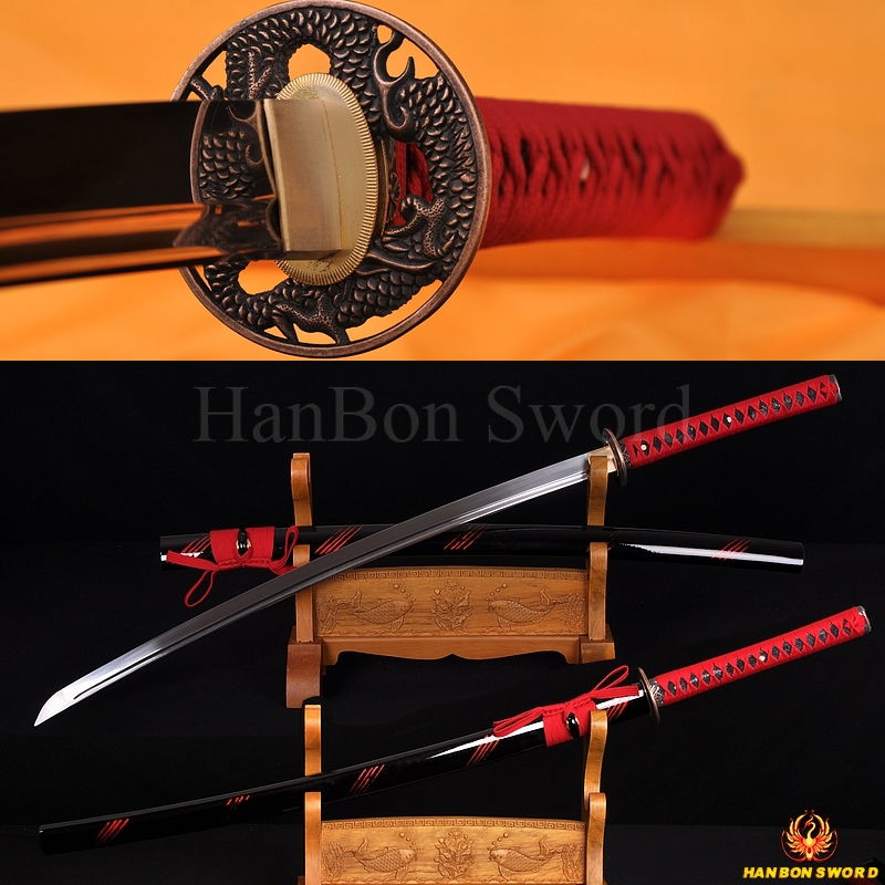 Japanese Iaido training sword katana unsharp full tang blade  Dragon theme fittings