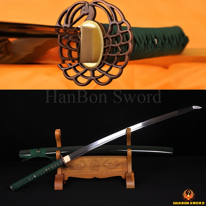 Hand made iaito katana sword 1060 high carbon steel full tang blade crane theme