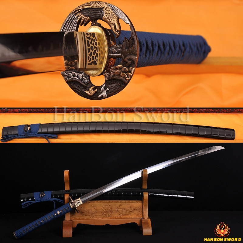 High Quality Japanese Samurai Sword Katana Clay Tempered Blade Hazuya Polished Hawk Koshirae