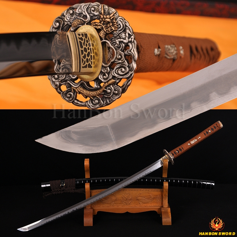 TOP QUALITY TRADITION HANDMADE JAPANESE SAMURAI DRAGON SWORD KATANA KOBUSE BLADE DIFFERENTIAL HARDENED RING-SHAPED SAYA