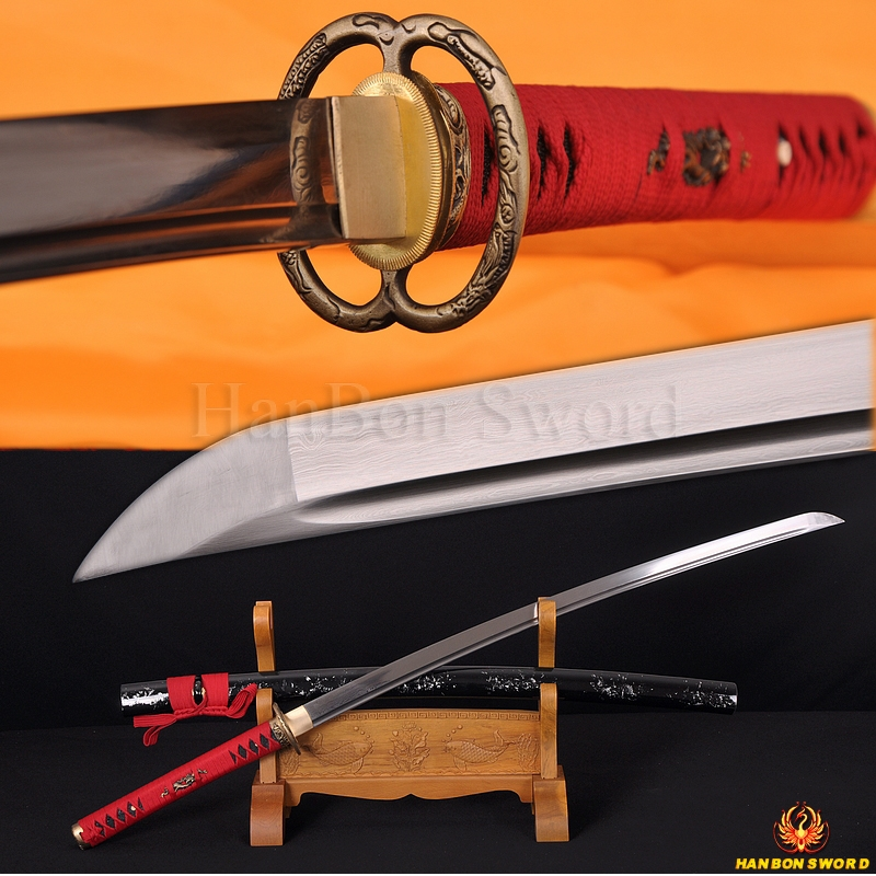 Japanese Dragon Musashi Katana Sword Damascus steel full tang blade