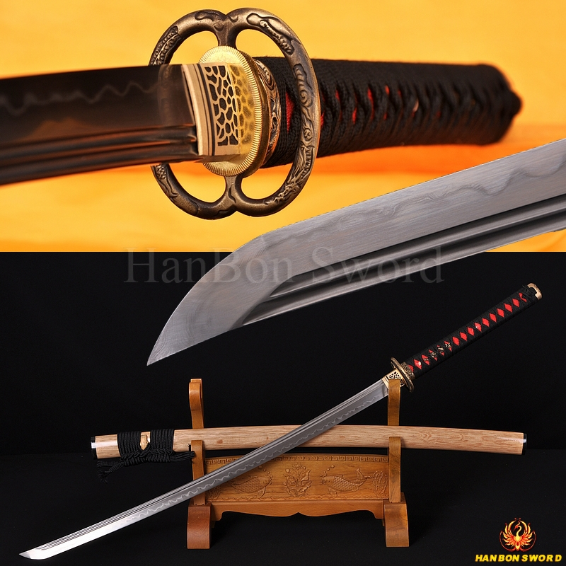 Hand Forged Folded Steel Clay Tempered Blade Dragon Musashi Koshirae Japanese Samurai Sword Katana