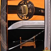 Damascus Steel Clay Tempered Blade Dragon Koshirae&Engraving Japanese Samurai Sword Katana