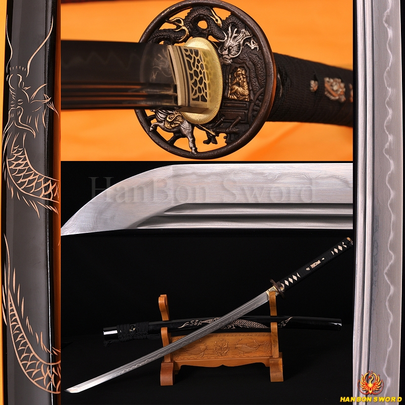 Damascus Steel Clay Tempered Blade Dragon Koshirae&Engraving Japanese Samurai Sword Katana