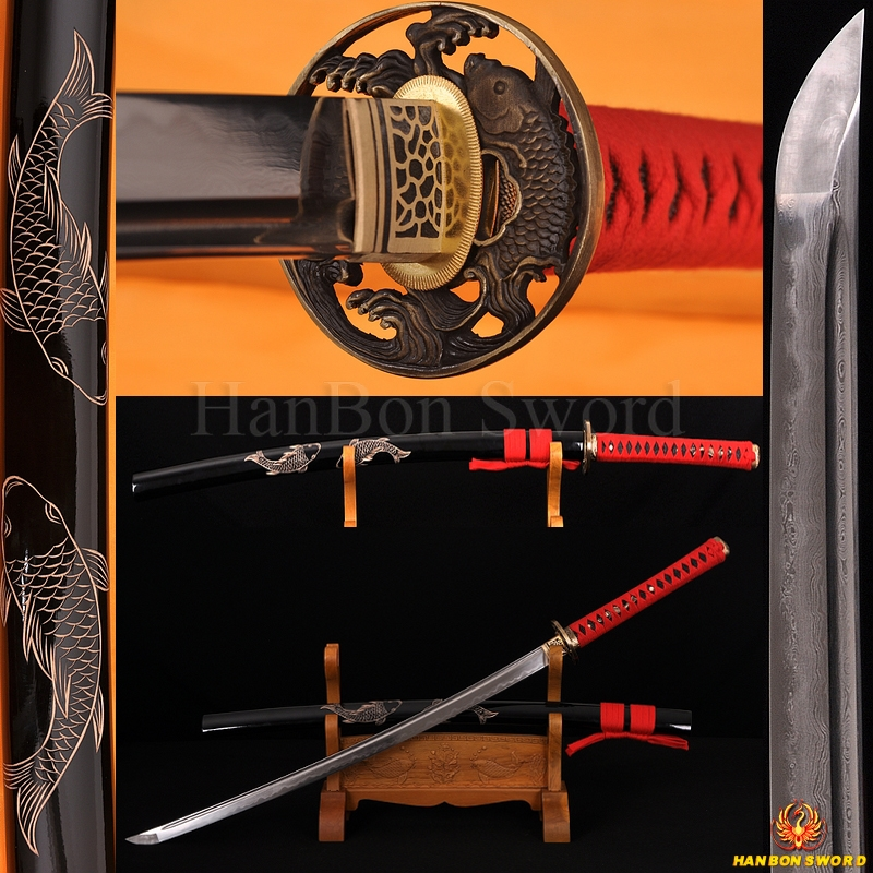 Fully Hand Forged Damascus Steel Clay Tempered Blade Fish Koshirae engraving Japanese Samurai Sword Katana