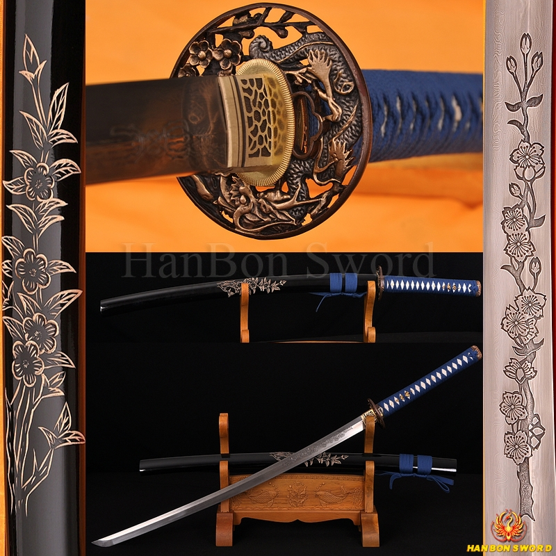 Japanese Dragon/Sakura Katana Sword Hand Forged Damascus steel full tang blade