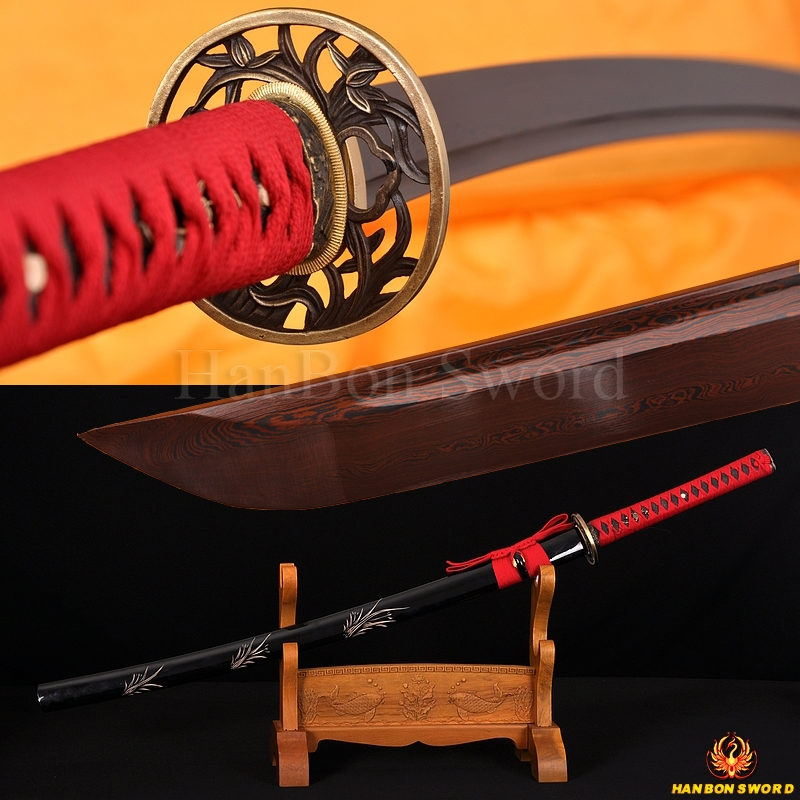 Japanese Katana Samurai Sword 8196 layers Red Damascus Steel Blade