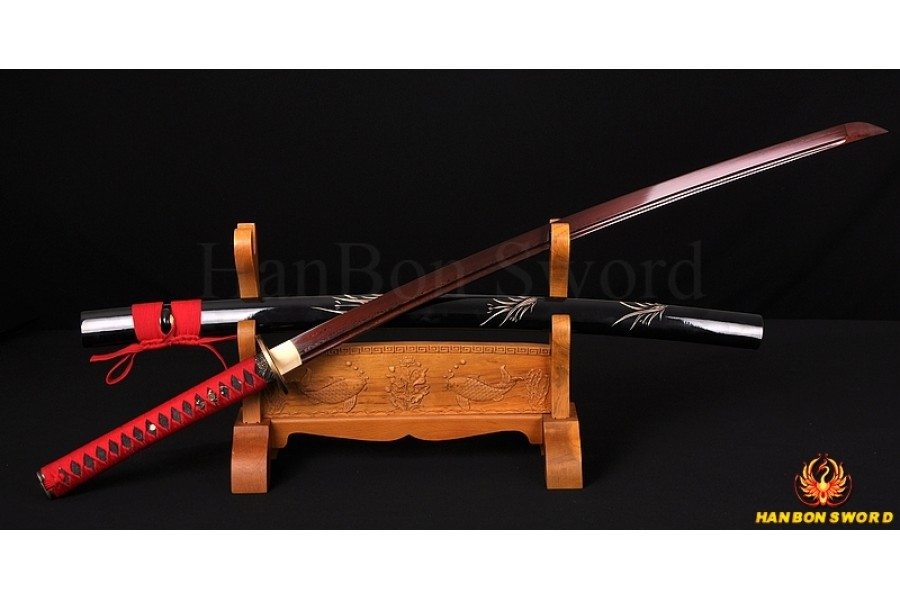 Japanese Katana Samurai Sword 8196 layers Red Damascus ...