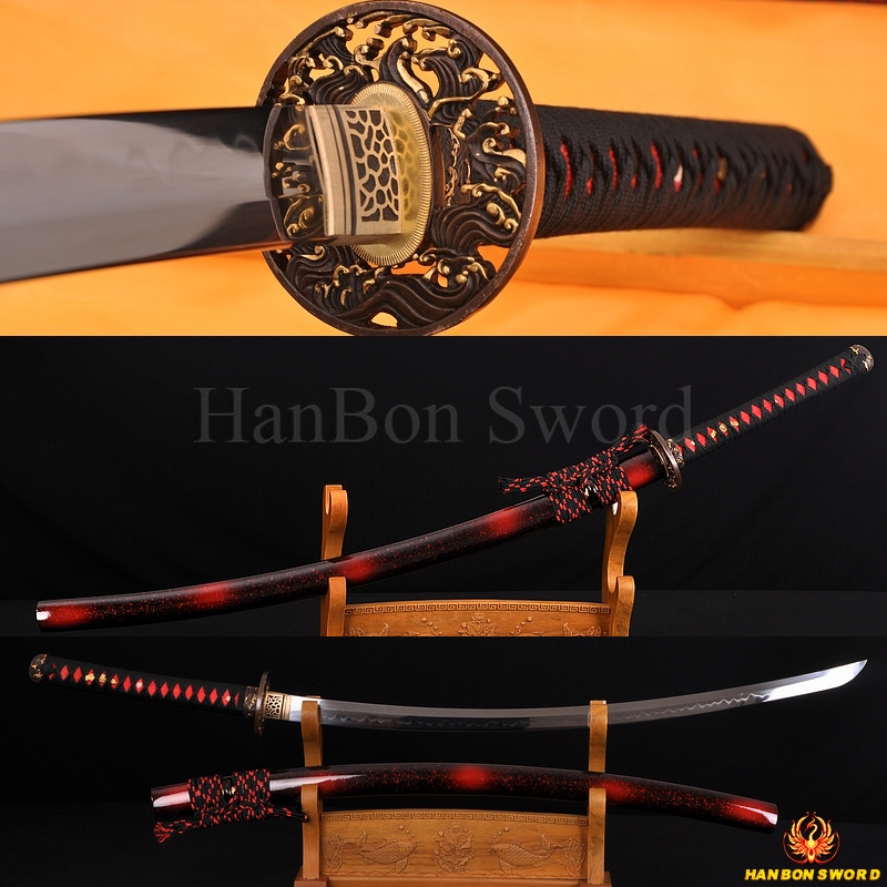 "1.26""SORI FULL TANG CLAY TEMPERED WAVE KOSHIRAE HANDMADE JAPANESE SAMURAI SWORD KATANA"