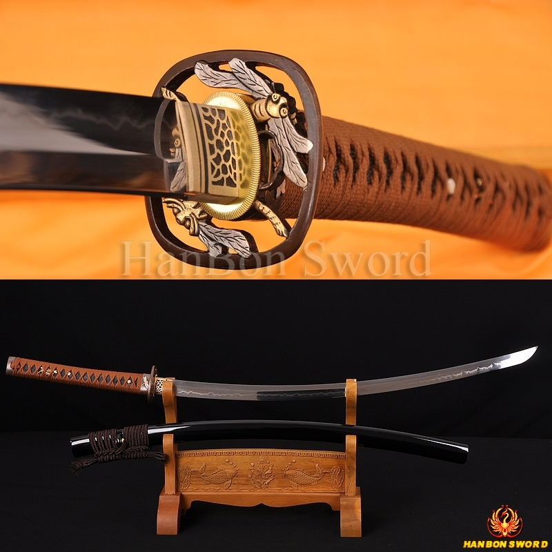 "Japanese Samurai Sword Katana 1.26"" sori clay tempered blade Dragonfly theme fittings"