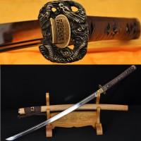HANDMADE JAPANESE SAMURAI SWORD DRAGON KOSHIRAE LEATHER ITO HUALEE SAYA