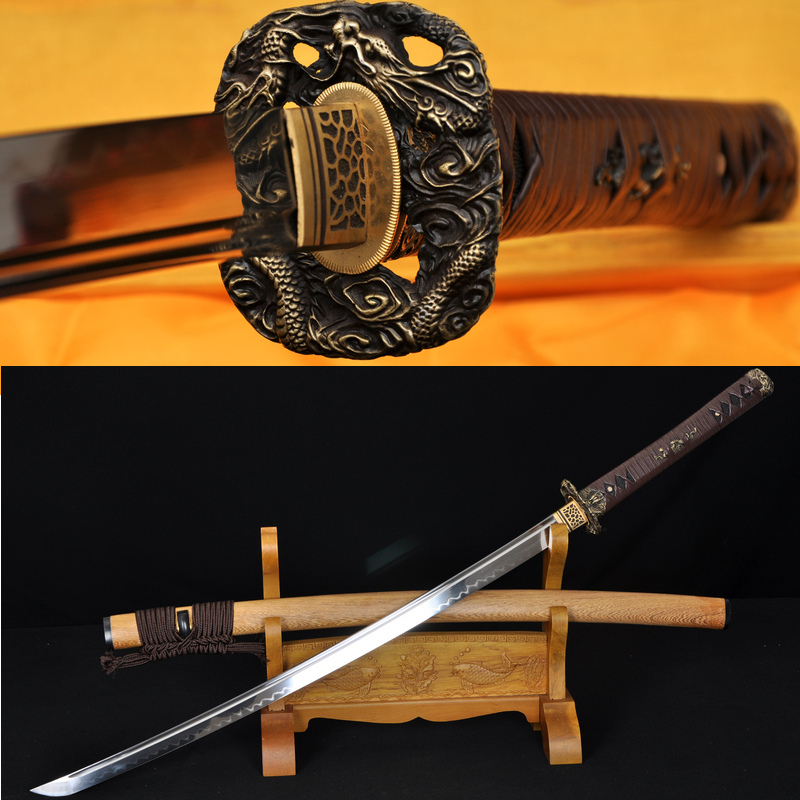HANDMADE JAPANESE SAMURAI SWORD DRAGON KOSHIRAE LEATHER ITO HUALEE SAYA