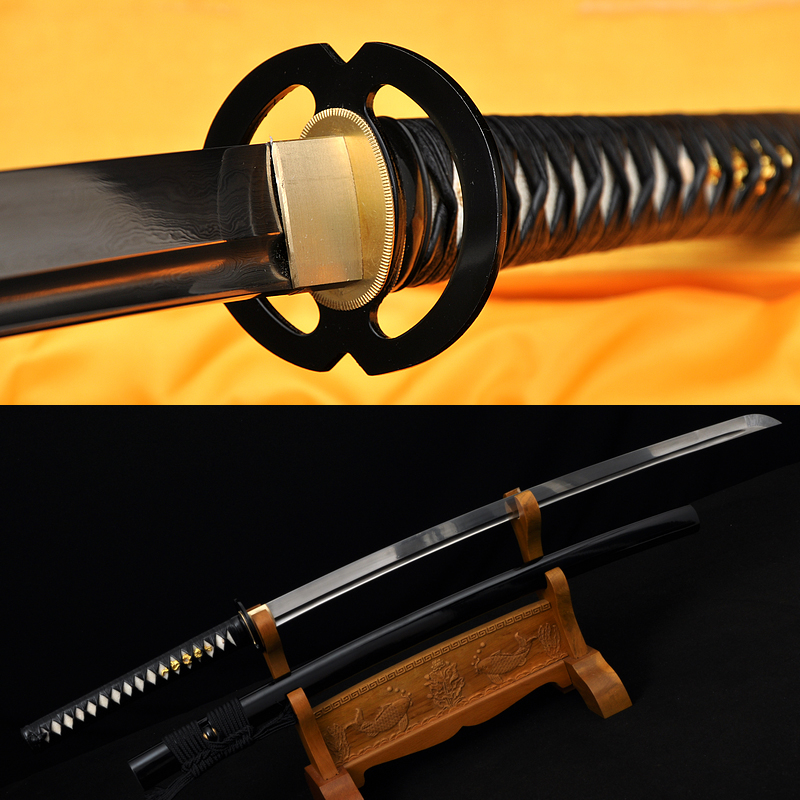 Hand made Japanese Musashi katana sword Damascus steel full tang blade