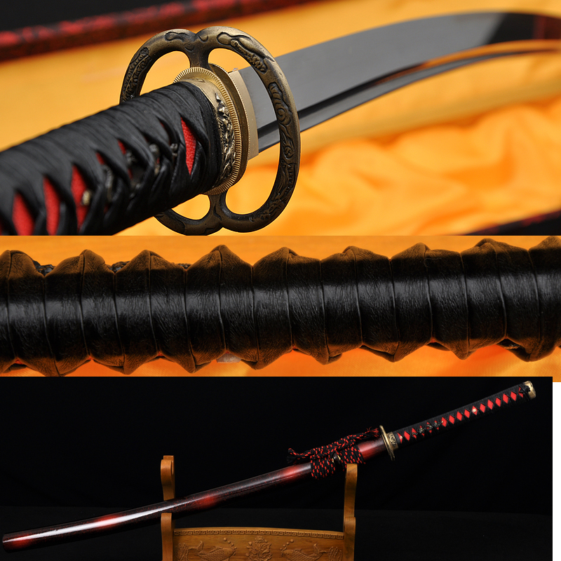 Leathe ITO Dragon Musashi TSUBA Full Tang Blade Oil Quenched JAPANESE SAMURAI SWORD KATANA