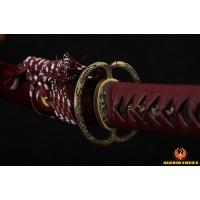 handmade Japanese Dragon Musashi katana sword Damascus steel full tang blade