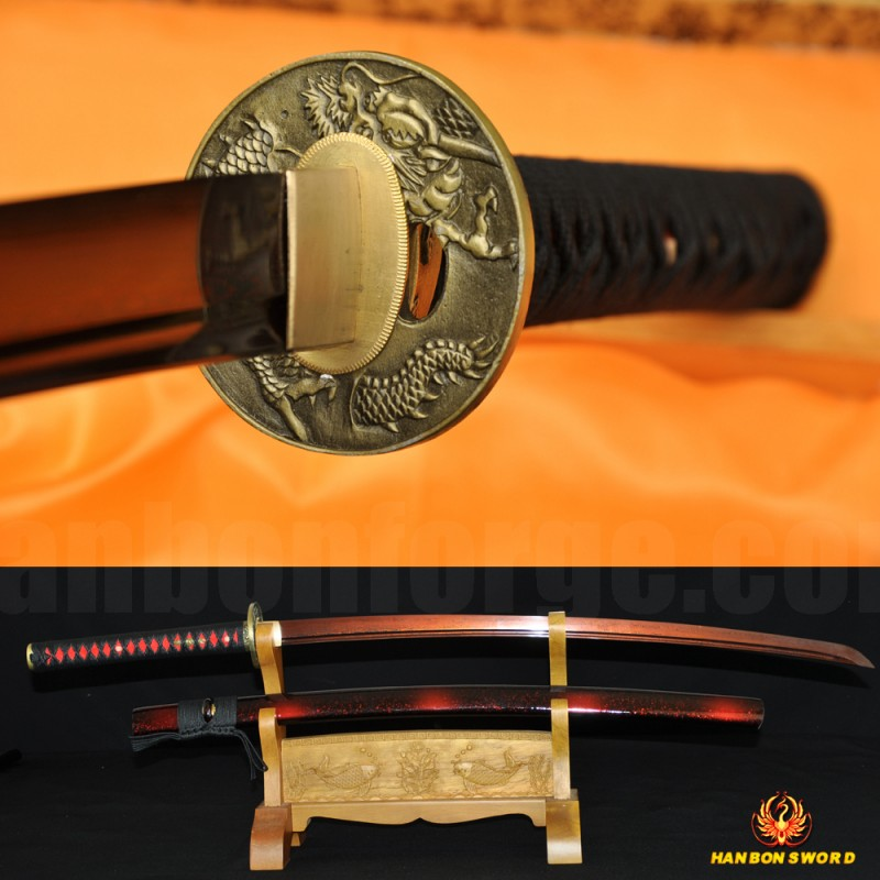 Black&Red Damascus Oil Quenched Full Tang Blade Dragon Koshirae Japanese Sword KATANA Very Sharp