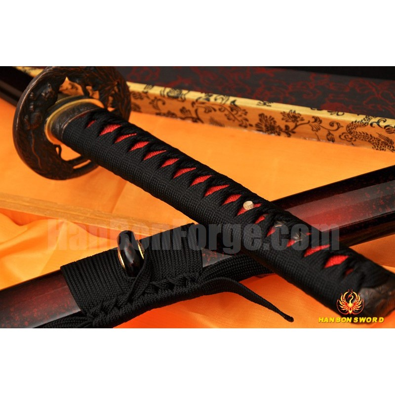 Black&Red Damascus Oil Quenched Full Tang Blade Tiger&Lion Koshirae Japanese Sword