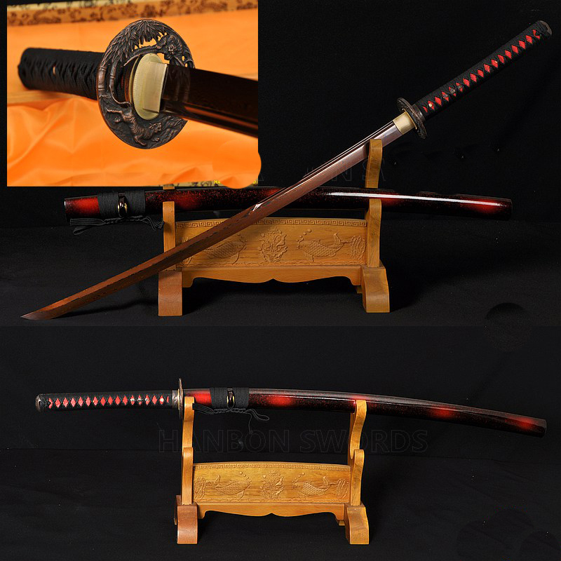 Black&Red Damascus Oil Quenched Full Tang Blade Tiger&Lion Koshirae Japanese Sword KATANA