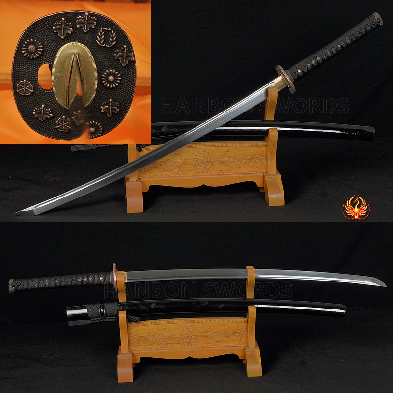 Unsharp Training Sword Iaido Sword Oil Quenched Full Tang Blade Japanese  Samurai Katana BLACK