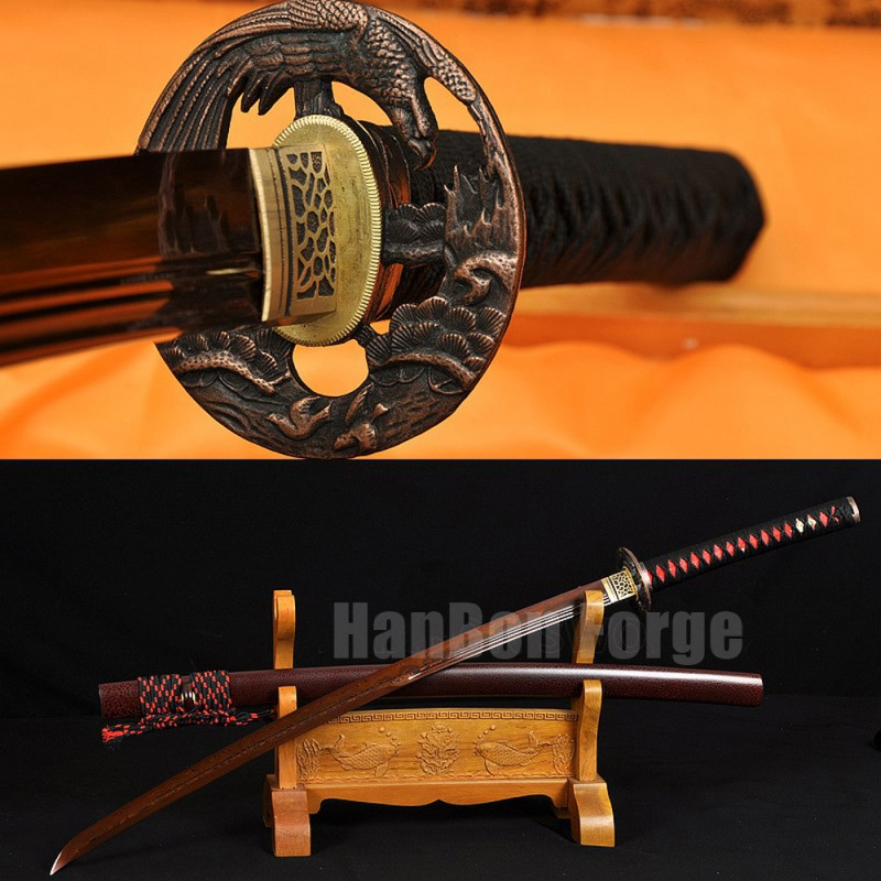 Japanese Katana Sword Handmade Full Tang Red Damascus Steel Blade Clay Tempered With Real Hamon