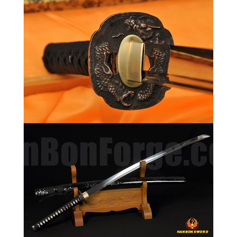 Training Iaito Sword Oil Quenched Full Tang Blade Dragon Koshirae Japanese Samurai Katana