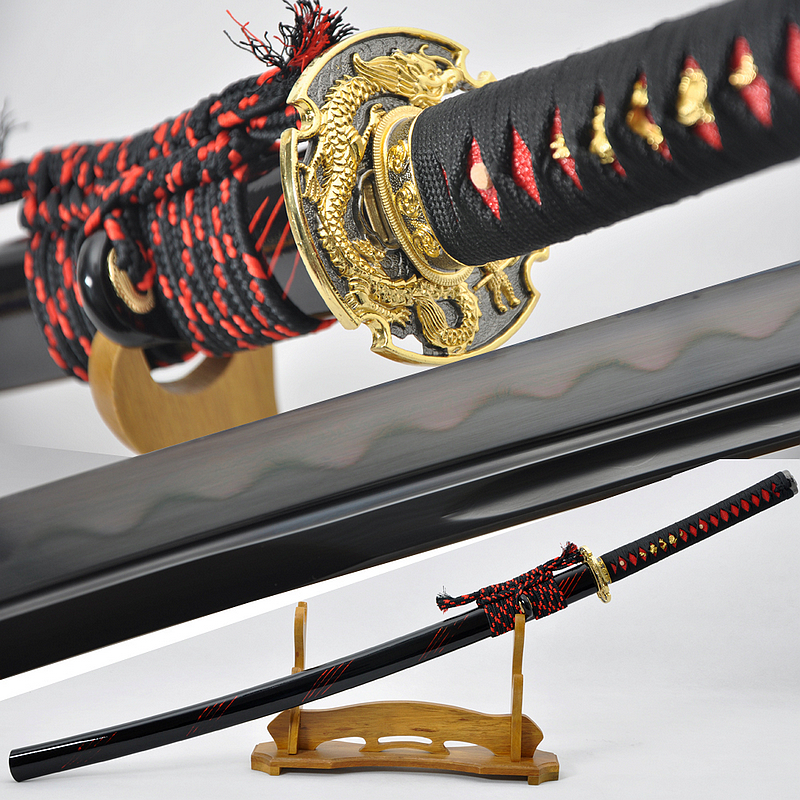 Fully Hand Forged Damascus Black Steel Clay Tempered Blade Dragon Koshirae Japanese Samurai Sword Katana