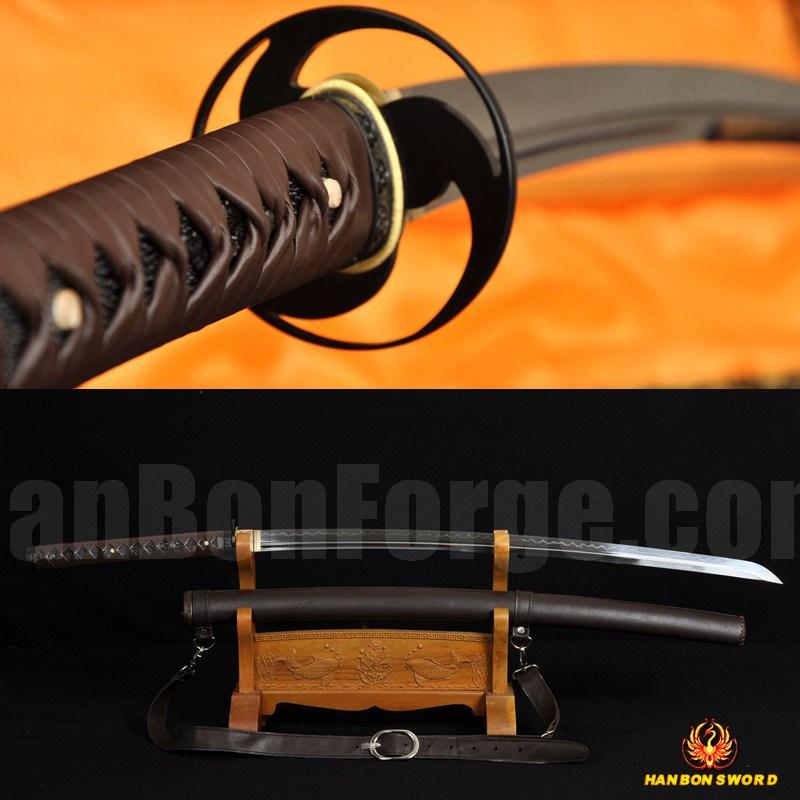 Japanese Samurai Sword KATANA Unokubi-Zukuri Full Tang Clay tempered Blade Leather straps