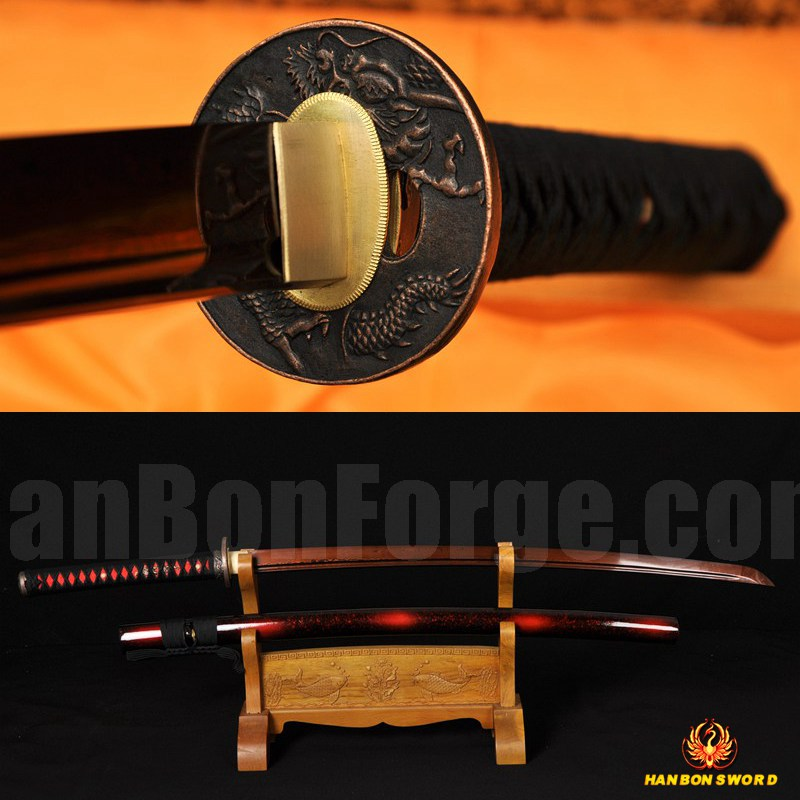Black&Red Damascus Oil Quenched Full Tang Blade Japanese Sword KATANA Very Sharp