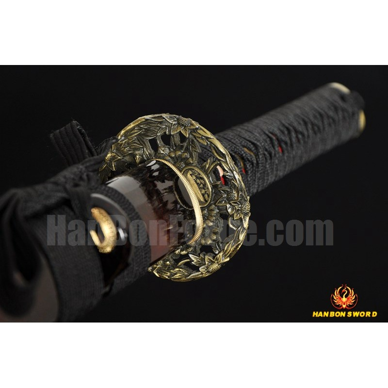 Hand Forged Black&Red Damascus Oil Quenched Full Tang Blade Iron Koshirae Japanese Ninja Sword