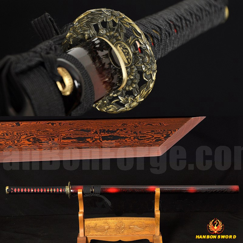 Hand Forged Black&Red Damascus Oil Quenched Full Tang Blade Iron Koshirae Japanese Ninja Sword Very Sharp
