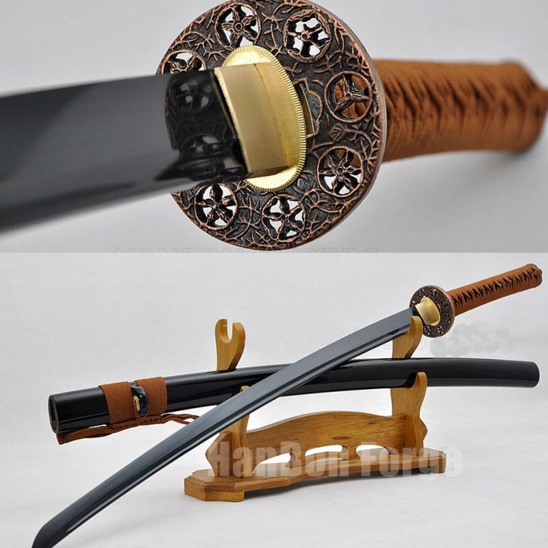 Japanese Katana Sword Handmade Full Tang 1060 Carbon Steel Black Blade With Alloy Tsuba