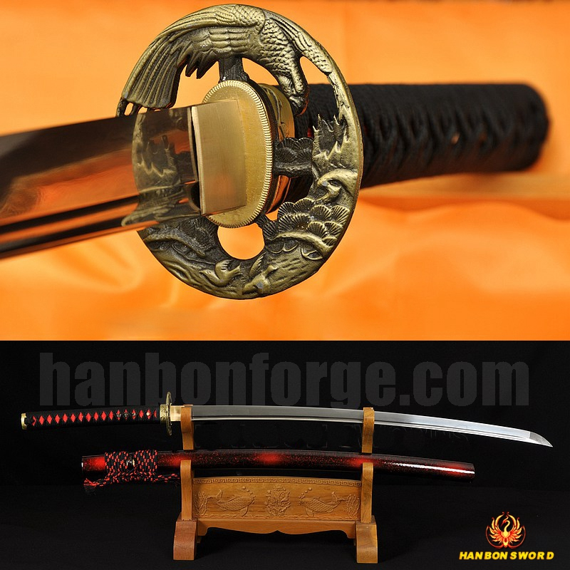 Hand Forged Full Tang Blade Oil Quenched Hawk Koshirae Japanese Samurai Sword KATANA Very Sharp