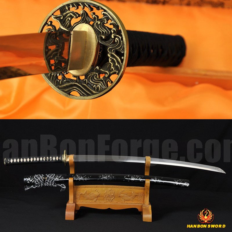 "41"" JAPANESE SAMURAI KATANA SWORD Damascus Steel Oil Quenched Full Tang Blade Sharp"