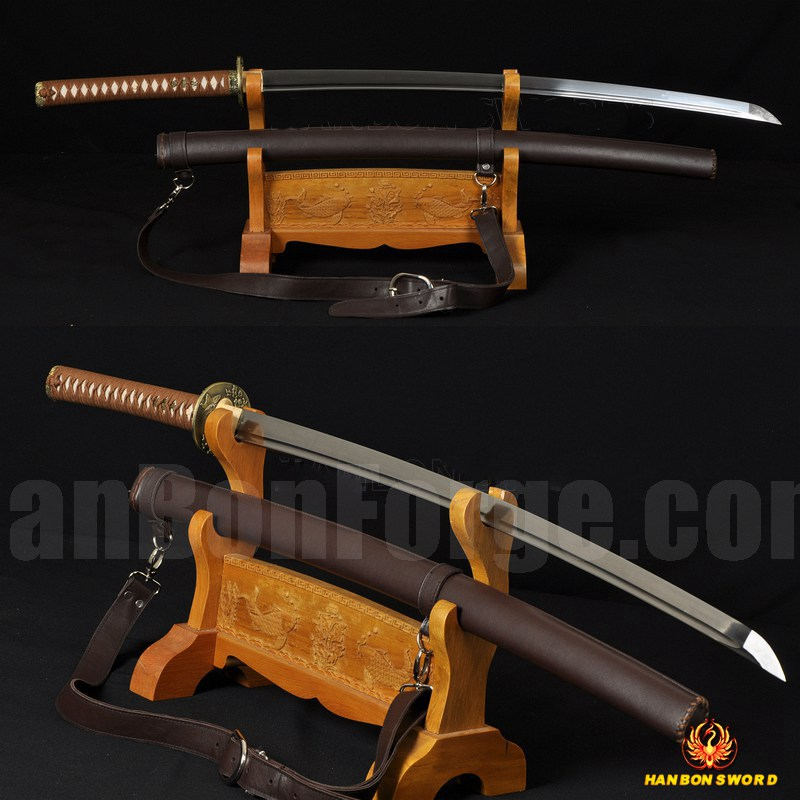 Leather Saya 8192 Layers Damascus Steel Oil Quenched Full Tang Blade Japanese Sword KATANA